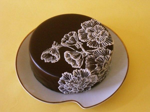 Шоколадные рисунки на торте